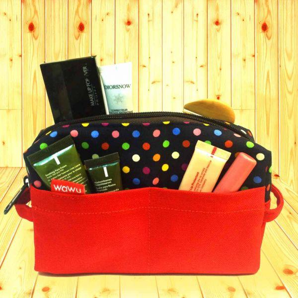 化妝包 (繽紛藍點) 便當袋,lunchbag,束口袋,巾着袋,drawstring