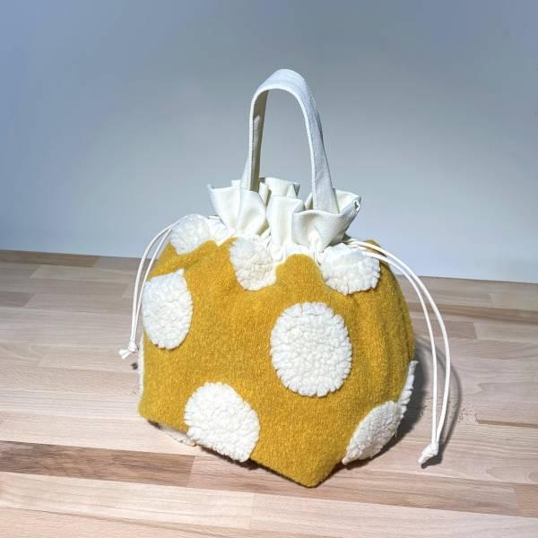 巾着袋, 束口手提袋 (絨毛 - 鵝黃) *接單生產 便當袋,lunchbag,束口袋,巾着袋,drawstring