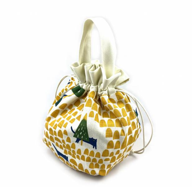 巾着袋, 束口手提袋 (貓貓森林 - 黃) *接單生產 便當袋,lunchbag,束口袋,巾着袋,drawstring