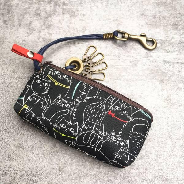 拉鍊鑰匙包 (夜貓子 - 咖啡拉鍊) 日本布 接單生產* 鑰匙包,keyholder,鑰匙收納,キーケース,kyecase,隨身小包,客製化