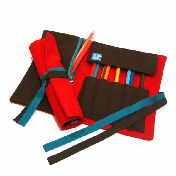 筆捲, 捲軸式筆袋 (紅色帆布) 筆捲,工具袋,筆袋,餐具袋,卷軸式筆捲