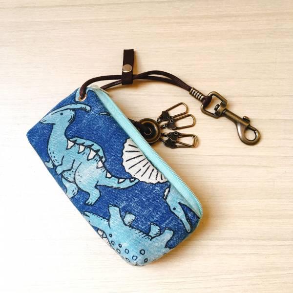 拉鍊鑰匙包 (恐龍丸) 日本布 接單生產* 鑰匙包,keyholder,鑰匙收納,キーケース,kyecase,隨身小包,客製化