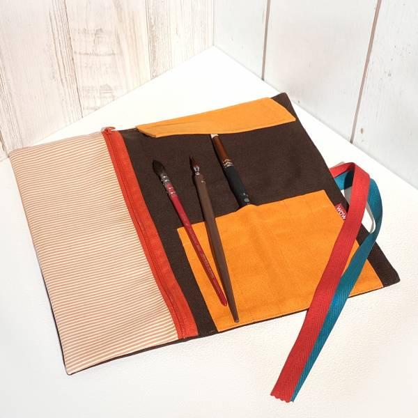 繪筆捲, 工具袋 (客訂花色) 接單生產* 筆捲,工具袋,筆袋,餐具袋,卷軸式筆捲,水彩筆袋,水彩筆捲,ロールペンケース,Pen pouch,Roll pencil case