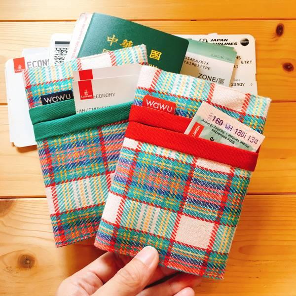 護照套+扣帶 (織物彩格 / 一對)  接單生產* 護照套,passportcase,パスポートケース
