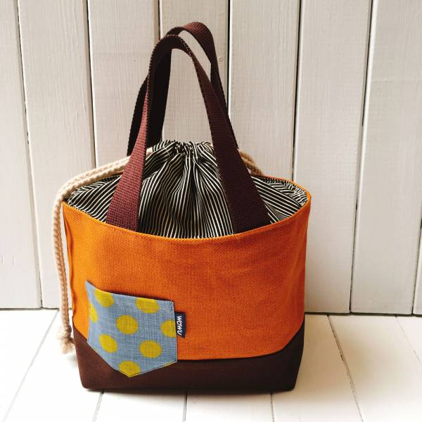 束口手提袋 (馬鞍棕色) 早午餐, 便當袋 接單生產* 便當袋,午餐袋,快餐袋,手提包,早餐袋,束口袋