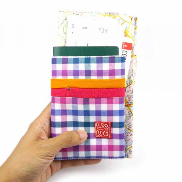 護照套 (繽紛紫格)  接單生產* 護照套,passportcase,パスポートケース