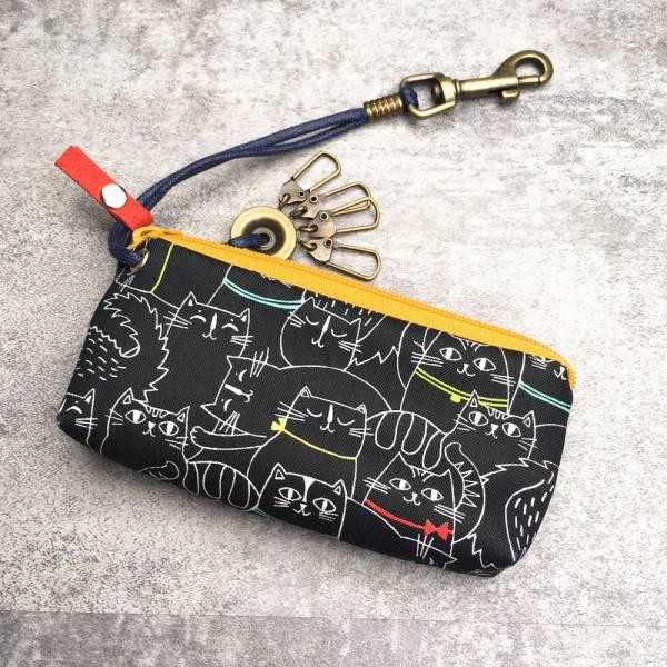拉鍊鑰匙包 (夜貓子 - 鵝黃拉鍊) 日本布 接單生產* 鑰匙包,keyholder,鑰匙收納,キーケース,kyecase,隨身小包,客製化