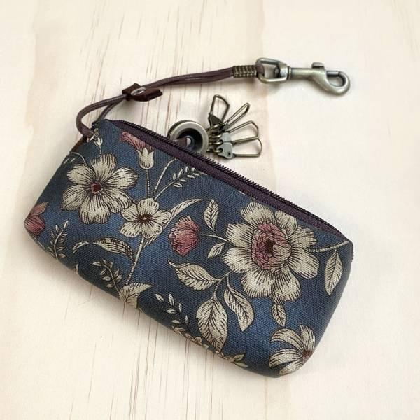 拉鍊鑰匙包 (古典花) 日本布 接單生產* 鑰匙包,keyholder,鑰匙收納,キーケース,kyecase,隨身小包,客製化