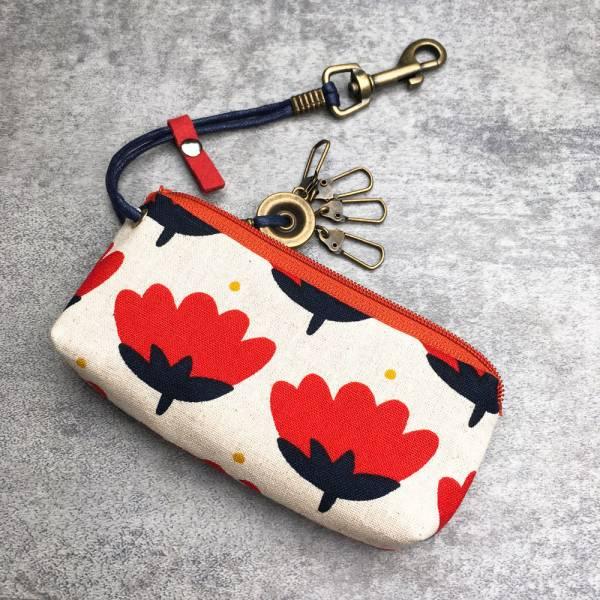拉鍊鑰匙包 (紅花) 日本布 接單生產* 鑰匙包,keyholder,鑰匙收納,キーケース,kyecase,隨身小包,客製化
