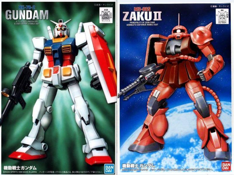 萬代 BANDAI FG-01+02 1/144 鋼彈 RX-78-2 + 夏亞薩克II MS-06S 套組