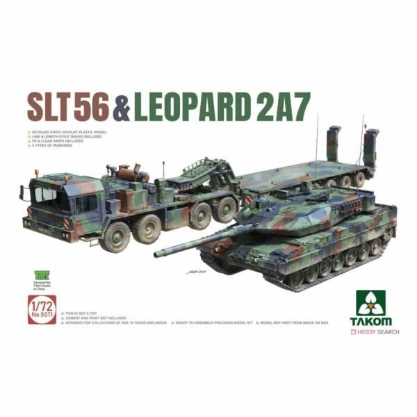 三花 TAKOM 5011 1/72 SLT56 拖車 附 豹2A7主戰坦克