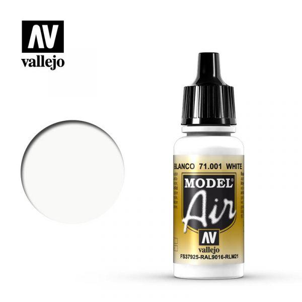 西班牙 Vallejo AV水性漆 Model Air 71001 - 白色 White - 17 ml.l