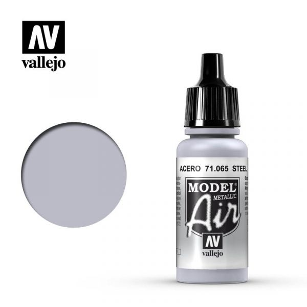 西班牙 Vallejo AV水性漆 Model Air 71065 鋼鐵色(金屬色) 17ml
