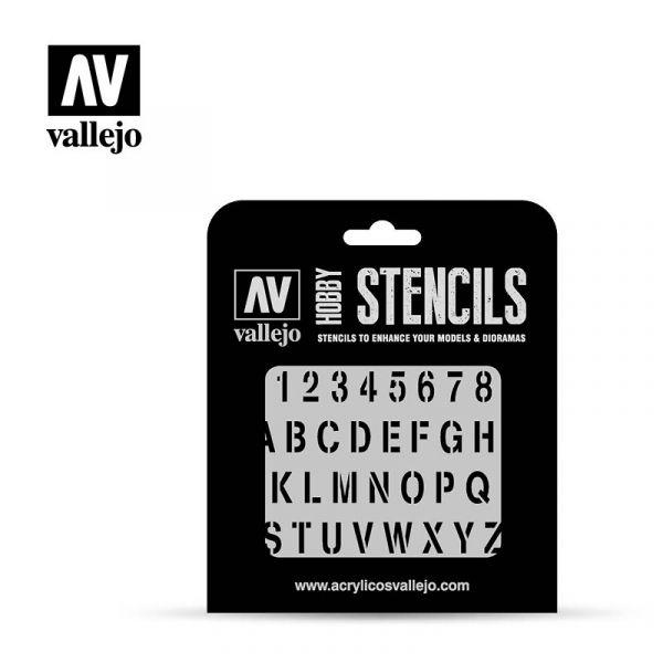 Acrylicos Vallejo - ST-LET002 1/35 Stencils - 塗裝字體 Stamp Font  遮噴片