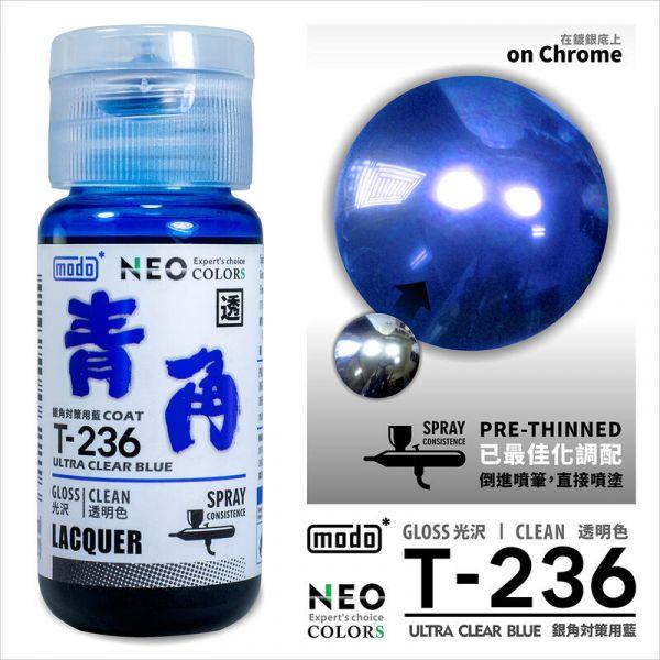 摩多製漆所 MODO T-236 青角(銀角電鍍漆專用透明藍) 噴塗用濃度 30ml <新配方新包裝>