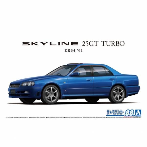 青島社 AOSHIMA 1/24 汽車模型 模型車 No.88 061725 日產 Skyline 25GT TURBO ER34'01 組裝模型 AOSHIMA 1/24 閃電霹靂車 阿斯拉 AKF-0/G LIFTING TURN模式
