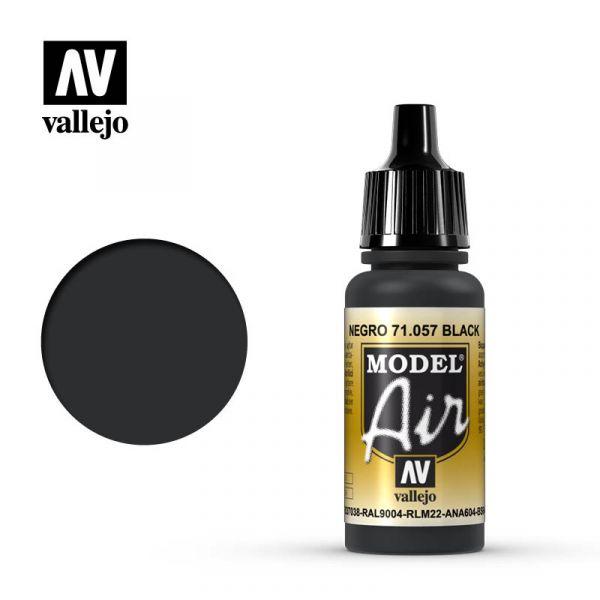 西班牙 Vallejo AV水性漆 Model Air 71057 - 黑色 Black - 17 ml.