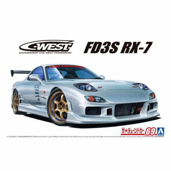 青島社 AOSHIMA 1/24 汽車模型 #69 馬自達 C-WEST FD3S RX-7 ''99 組裝模型