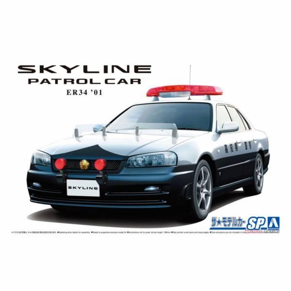 青島社 AOSHIMA 1/24 汽車模型 模型車 No.SP 061251 日產 Skyline ER34 巡邏車 '01 組裝模型 AOSHIMA 1/24 閃電霹靂車 阿斯拉 AKF-0/G LIFTING TURN模式