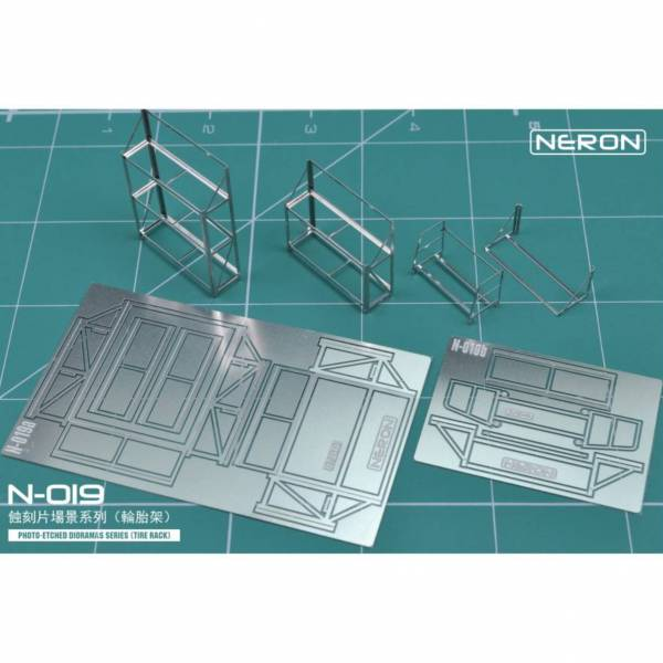 預購10月 NERON N-019 1/64 民用場景用品 輪胎架套裝 - 兩張蝕刻片