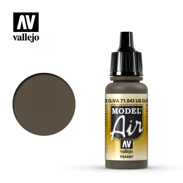 西班牙 Vallejo AV水性漆 Model Air 71043 美國橄欖褐色 17ml
