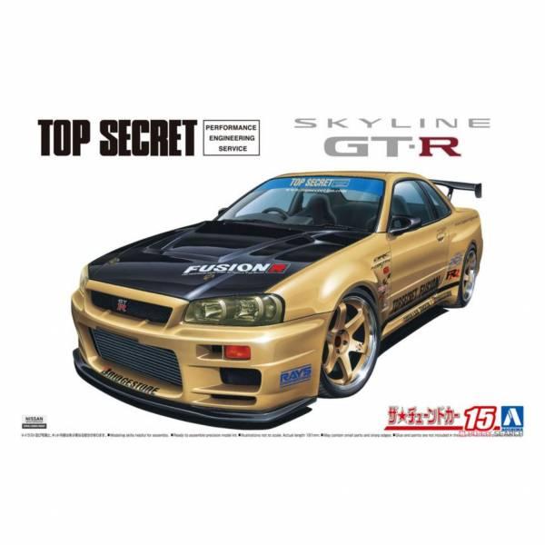 青島社 AOSHIMA 1/24 汽車模型 改裝車 No.15 059845 日產 Top Secret BNR34 GT-R '02 組裝模型 AOSHIMA 1/24 閃電霹靂車 阿斯拉 AKF-0/G LIFTING TURN模式