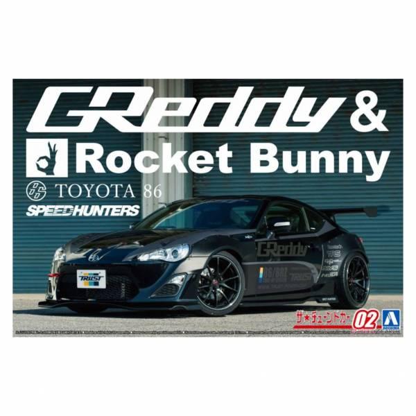 青島社 AOSHIMA 1/24 汽車模型 改裝車 No.02 061879 86'12 Greddy&Rocket Bunny VOLK RACING 組裝模型 AOSHIMA 1/24 閃電霹靂車 阿斯拉 AKF-0/G LIFTING TURN模式