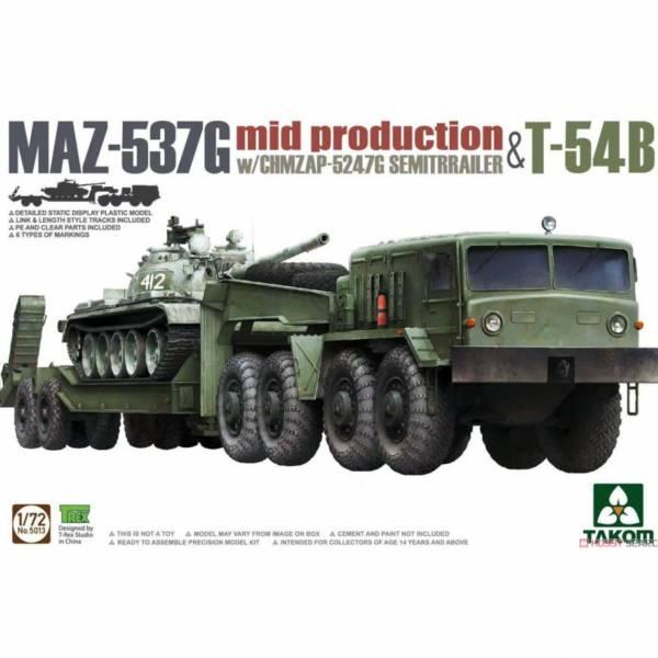 三花 TAKOM 5013 1/72 俄國MAZ-537G拖車組 + T-54B坦克