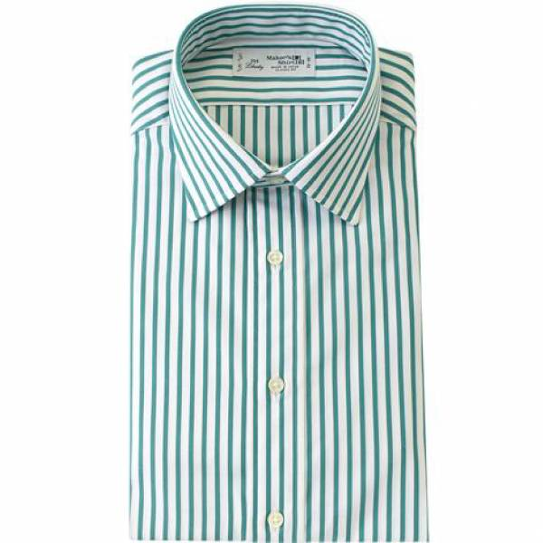 Spread Collar Emerald Stripe Broadcloth Smart Casual 鎌倉襯衫,商務襯衫,休閒襯衫,鎌倉襯衫台北