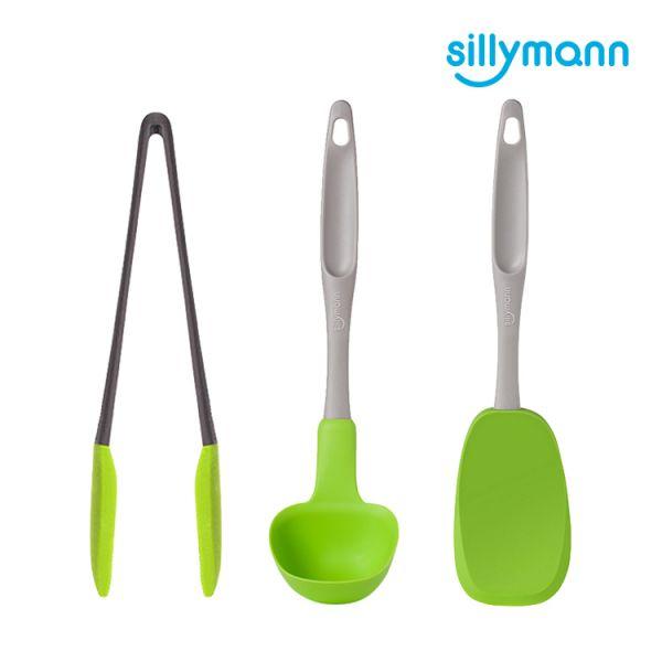 【韓國sillymann】家庭必備組(綠長柄湯勺(大)+綠長柄翻炒勺+ 綠萬用料理夾)