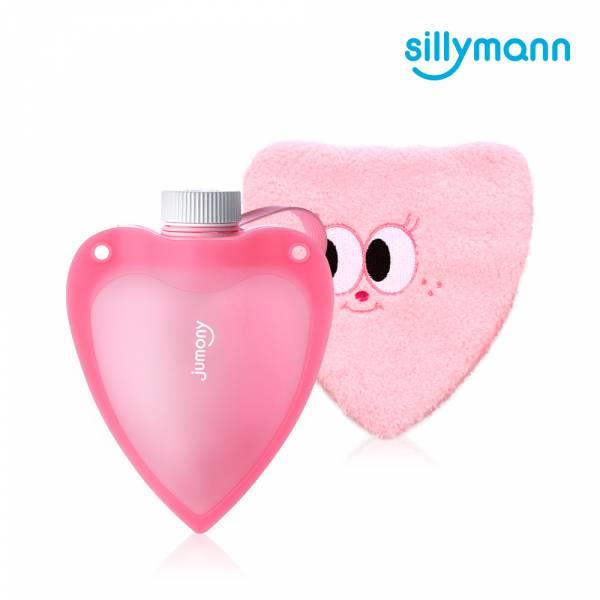【韓國sillymann】100%鉑金矽膠愛心保溫水瓶250ml(粉)
