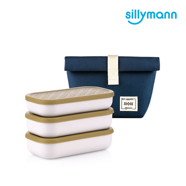 【韓國sillymann】  PP保鮮餐盒三件組 (100%鉑金矽膠上蓋)(綠)