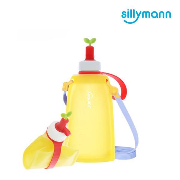 【韓國sillymann】 100%鉑金矽膠兒童便攜捲式鉑金矽膠水瓶-300ml(檸檬黃)