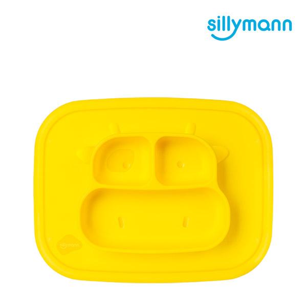 【韓國sillymann】 100%鉑金矽膠乳牛防滑餐盤(黃)
