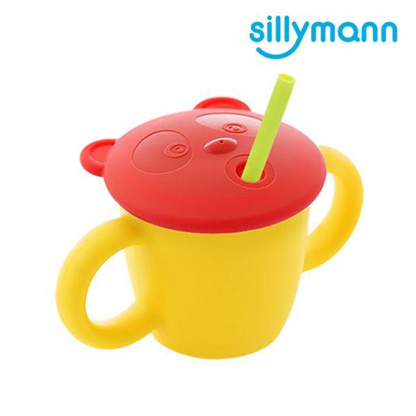 【韓國sillymann】100%鉑金矽膠 兒童專用雙手握把喝水學習杯(220ml)(檸檬黃)