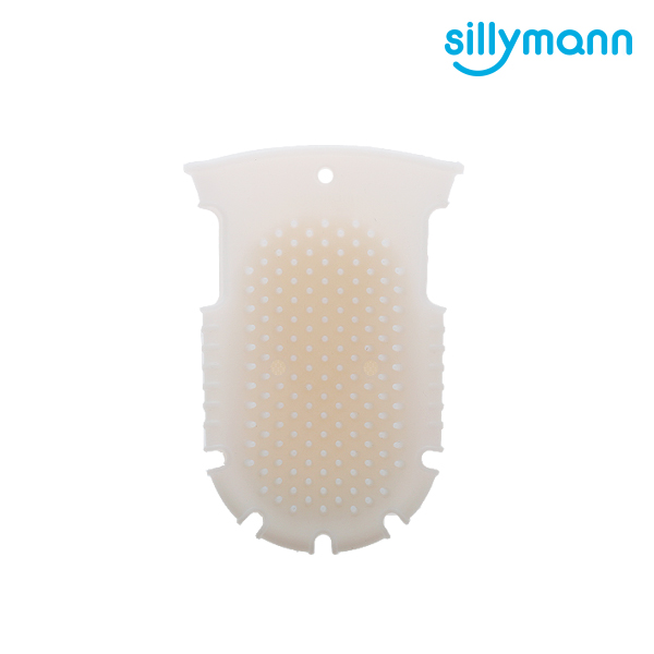 【韓國sillymann】 100%鉑金矽膠舒壓按摩洗澡刷(白) 洗澡用品