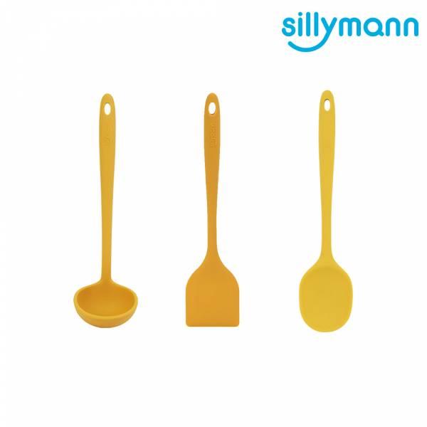 【韓國sillymann】100%鉑金矽膠精品一體成型三件組(黃煎鏟+黃拌炒勺+黃湯勺)