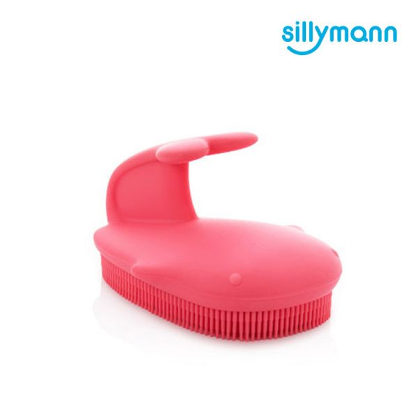 【韓國sillymann】 100%鉑金矽膠鯨魚洗澡刷(粉)