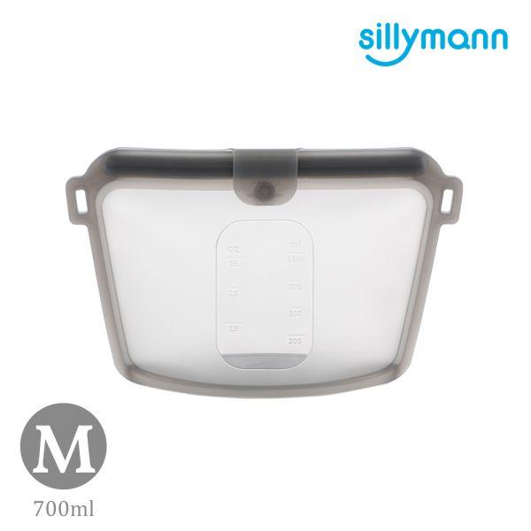 【韓國sillymann】 100%鉑金矽膠密封袋-700ml(灰黑)