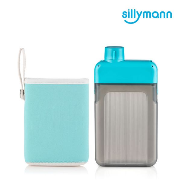 【韓國sillymann】 扁平時尚水壺-500ml(藍)