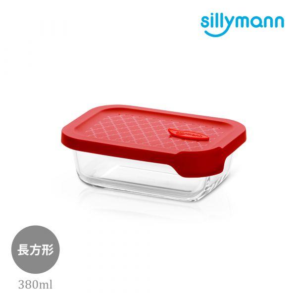 【韓國sillymann】 100%鉑金矽膠微波烤箱輕量玻璃保鮮盒(長方型380ml)(紅)