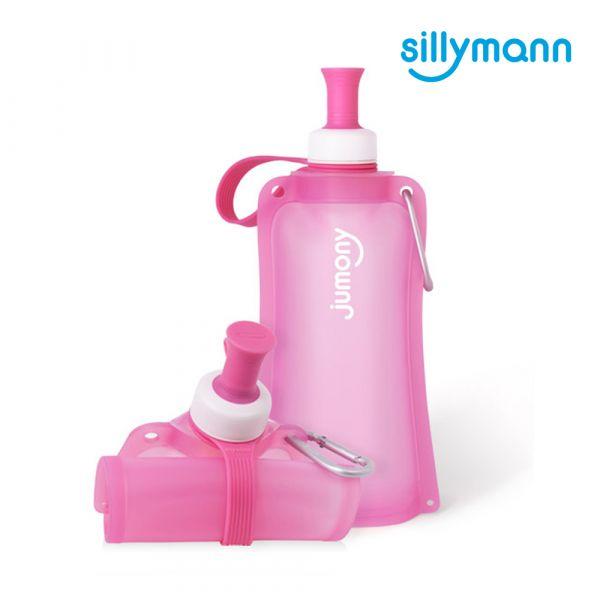 【韓國sillymann】 100%鉑金矽膠簡約便攜捲式鉑金矽膠水瓶-550ml(甜心粉)