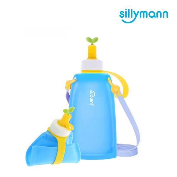 【韓國sillymann】 100%鉑金矽膠兒童便攜捲式鉑金矽膠水瓶-300ml(湖水藍)