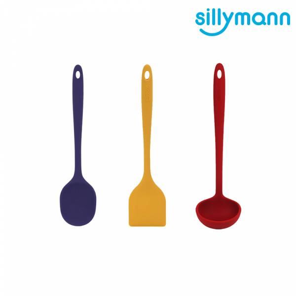 【韓國sillymann】100%鉑金矽膠精品一體成型三件組(黃煎鏟+藍拌炒勺+紅湯勺)