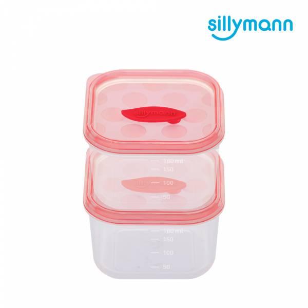 【韓國sillymann】 100%鉑金矽膠副食品保鮮盒(180ml)-2入裝(粉)