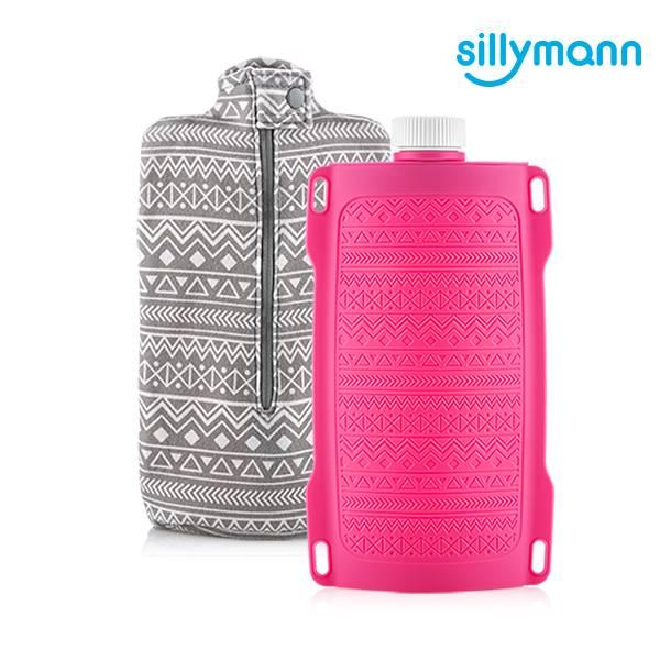 【韓國sillymann】100%鉑金矽膠保溫水瓶/水袋700ml(粉)