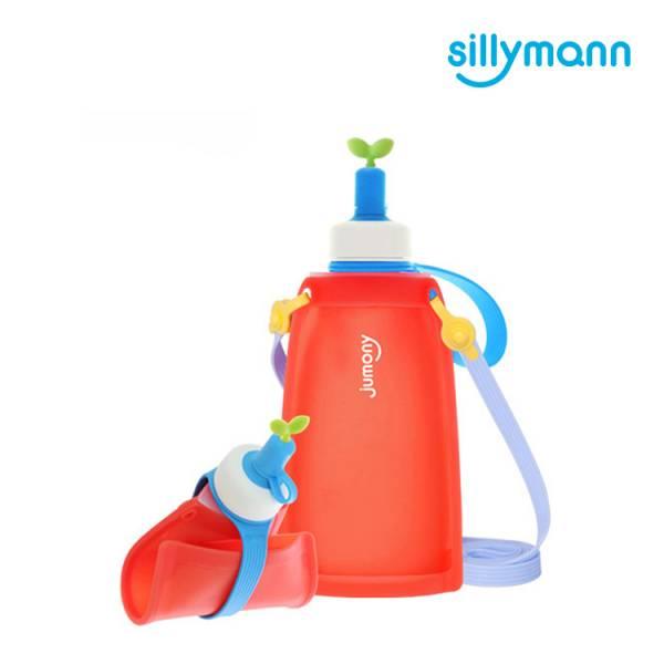 【韓國sillymann】 100%鉑金矽膠兒童便攜捲式鉑金矽膠水瓶-300ml(甜椒紅)