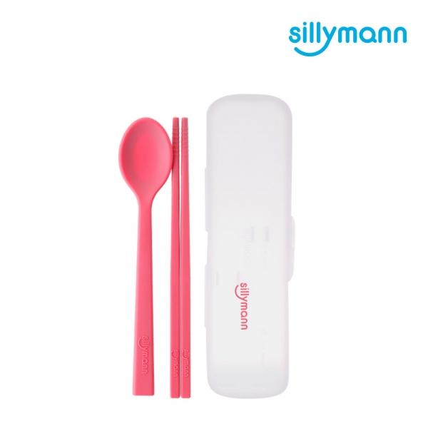 【韓國sillymann】 100%鉑金矽膠兒童餐具套裝組(附防塵盒)(甜心粉)