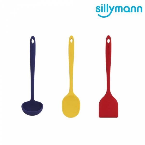【韓國sillymann】100%鉑金矽膠精品一體成型三件組(紅煎鏟+黃拌炒勺+藍湯勺)