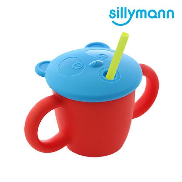 【韓國sillymann】100%鉑金矽膠 兒童專用雙手握把喝水學習杯(220ml)(石榴紅)